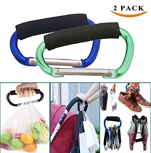 Large Stroller Hooks for Mommy, 2 pcs Carabiner Stroller Hook Organizer for Hanging Purses, Diaper Bag, Shopping Bags. Clip Fits Single/Twin Travel Systems, Car Seats and Jo (Blue+Green) ()