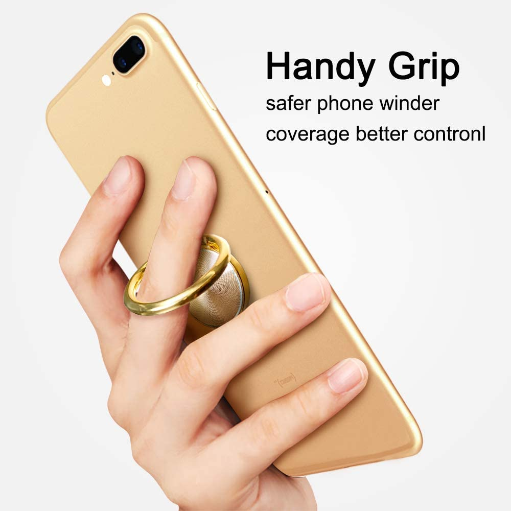 Car Mount 360/° Rotation Washable Removable Thin Universal Cell Phone Ring Stand Holder Finger Ring Grip Kickstand Anti Drop Phone Ring Holder Stand Phone case Tablet PC Smartphone Gold
