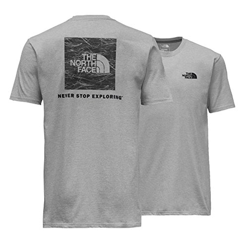 The North Face Men's Short Sleeve Red Box Tee - TNF Ligh Grey Heather and Asphault Grey Pine Needle Print - XL (The North Face Screen Print Shorts)