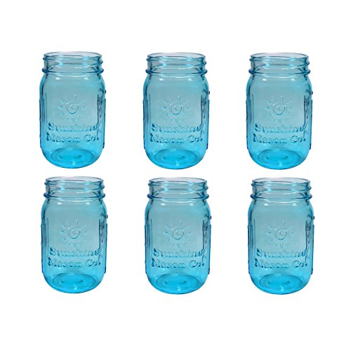 Sunshine Mason Co. Vintage Blue Color Pint Size (16 ounce, 473 mL) Regular Mouth Glass Mason Jars 6 ()