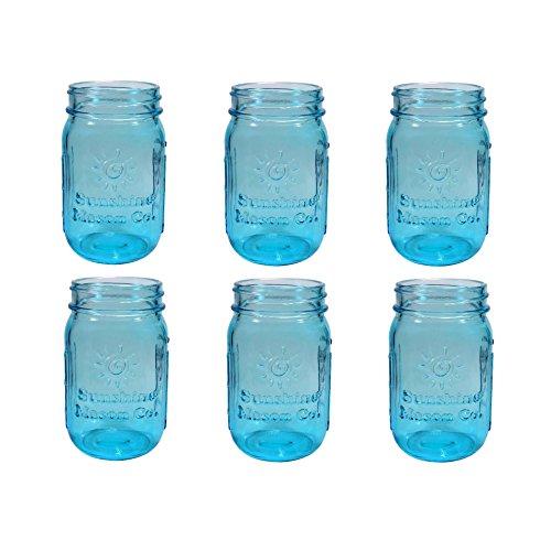 - Sunshine Mason Co. Vintage Blue Color Pint Size (16 ounce, 473 mL) Regular Mouth Glass Mason Jars 6 Pieces