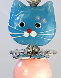 Retro Kitten Pink and Aqua Lampwork Glass Kitty Cat Face Light or Ceiling Fan Pull