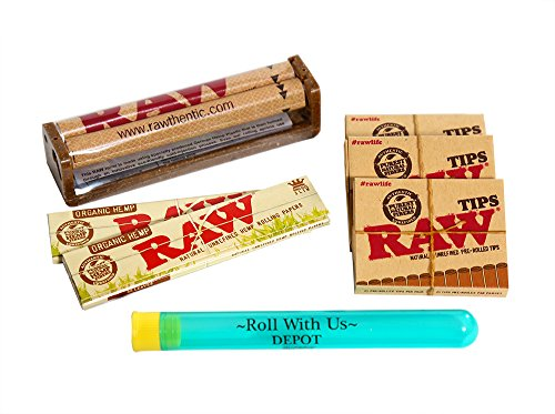RAW Organic King Size Slim Combo Includes: 2 Packs Of RAW Organic King Size Slim Rolling Paper, 3 Boxes RAW Pre-Rolled Tips, RAW 110MM Roller and Roll With Us Doobtube by Roll With Us Depot