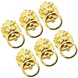 Choubao 6pcs Creative Lion Head Shape Antique Style Cabinet Pulls Handle Knob Dresser Drawer Pull Handles Knobs Ring Pull Single Hole/Hole Distance 32mm