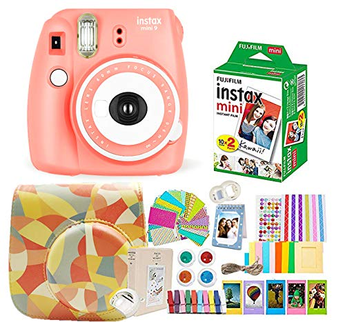 Fujifilm Instax Mini 9 Camera + Instant Camera Orange Set+Fuji Instax Mini Film + Instax Mini 9 Case + Instax Accessories Kit Bundle, Instant Camera Gift Sets -Coral Orange