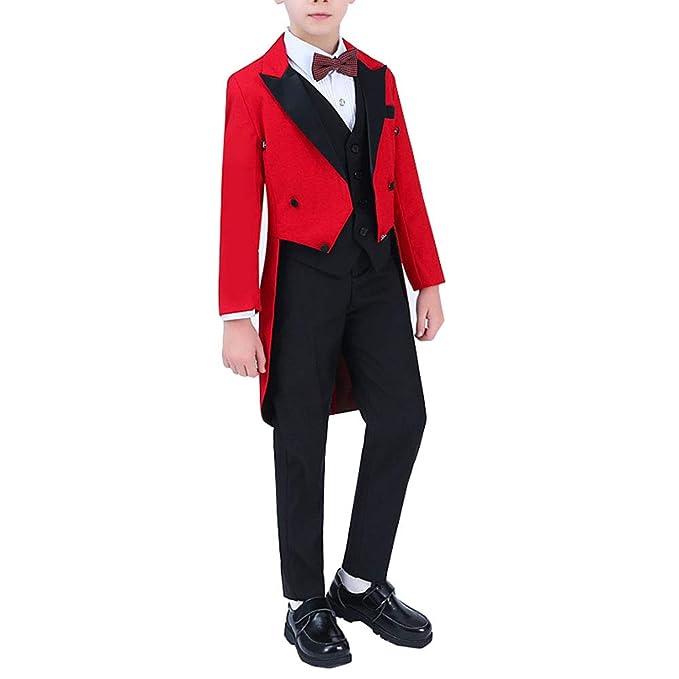 Amazon.com: 5 piezas de trajes de esmoquin rojo con cola ...