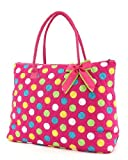Large Quilted Polka Dots Print Tote Bag – Pink/Multi (19x14x6.5), Bags Central