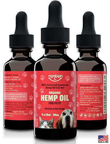 - Hemp Oil for Dogs & Cats (500mg) - Rich Organic Full Spectrum Hemp Extract for Pets | Separation Anxiety Relief for Dog & Cat | Calming Joint Support & Natural Pain Relief | 100% Safe - Made in USA