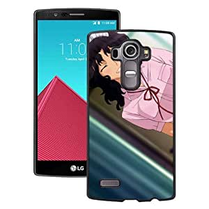 Popular And Unique Designed Cover Case For LG G4 With Girl Brunette Cute Smile Flirt Pose black Phone Case BY icecream design