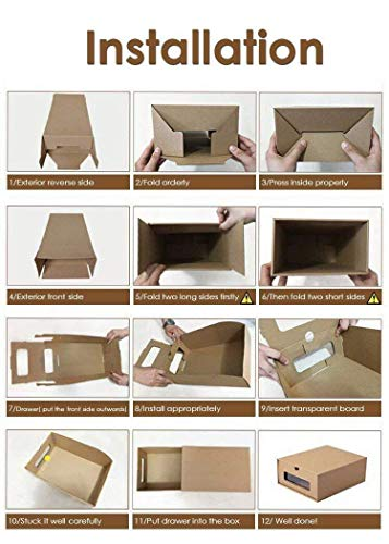 Prasacco Shoes Box, 10 Pack,Rugged, Durable, Perspective, Breathable, DIY Visible Cardboard Shoe Storage Boxes, 13 x9x5 inch, Designed to Woman\'s Size 11, Men\'s Size 10.5 MAX