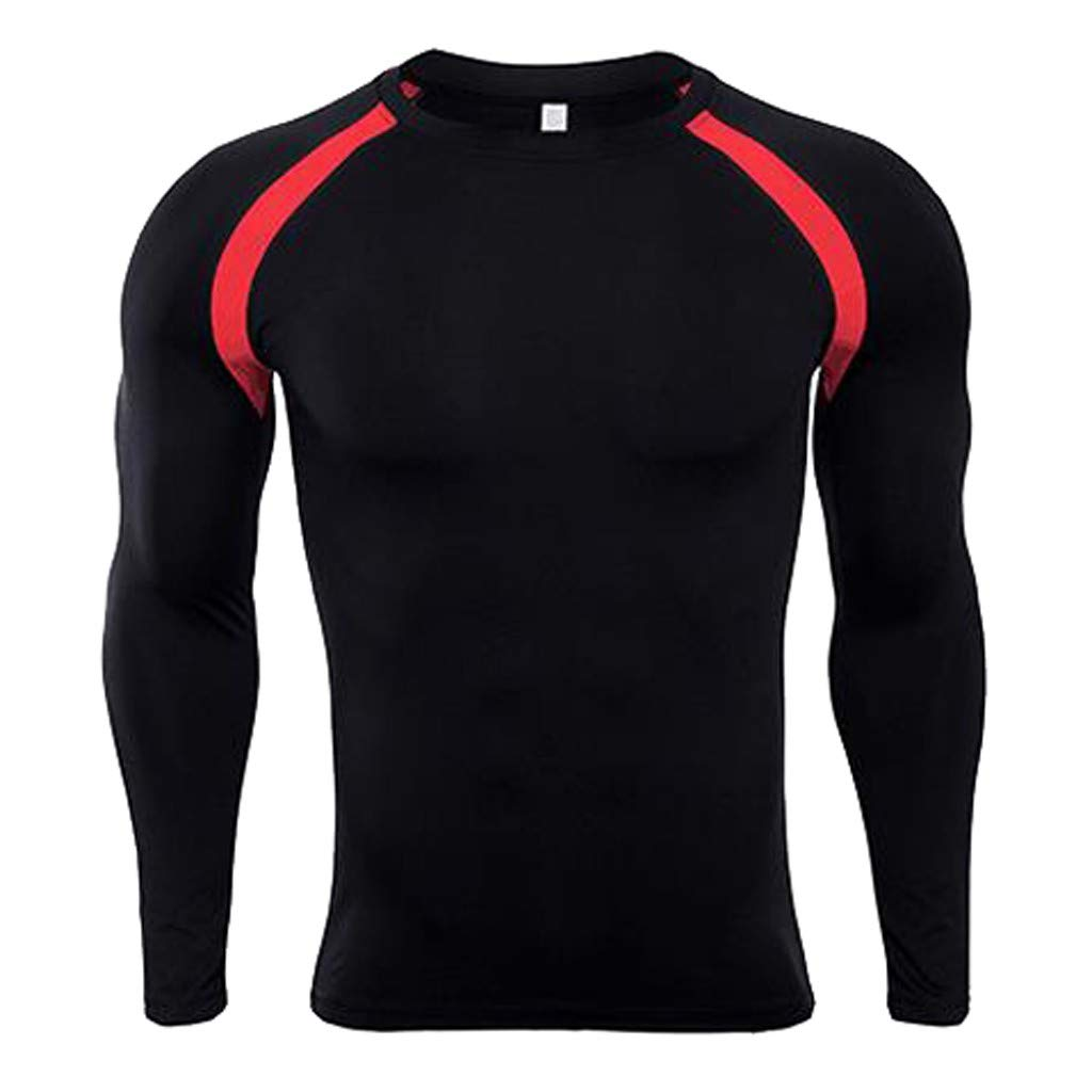 Charberry Mens Tight-Drying Tops Mens Fitness Long Sleeves Rashguard Bodybuilding Skin T-Shirt