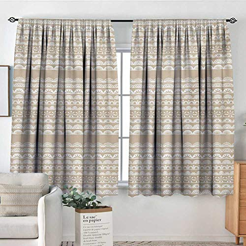 Mozenou Tan and White Window Curtain Drape Lace Style Antique Border Motifs Collection Vintage and Feminine Ornament Decorative Curtains for Living Room 55
