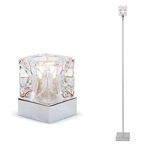Modern chrome glass ice cube touch table lamp floor lamp set modern chrome glass ice cube touch table lamp floor aloadofball Gallery