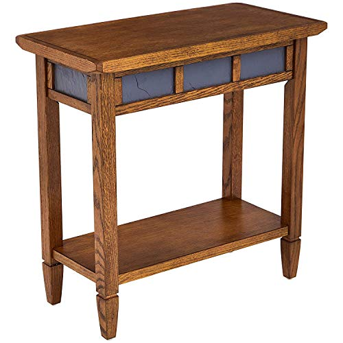 Phoenix Home Tilburg Chair-Side Solid-Wood End Table with Slate Panels and Bottom Shelf, Antique -