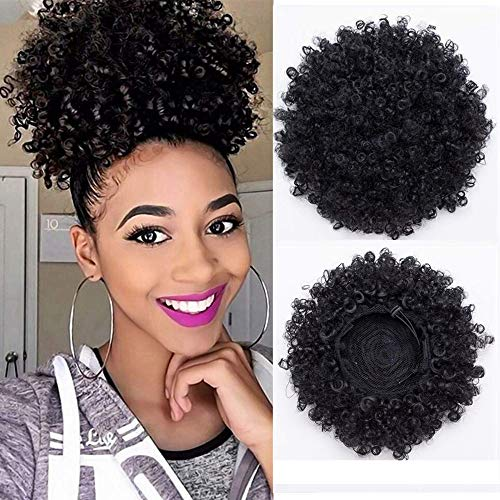 (BARRICI Synthetic High Puff Afro Ponytail Drawstring Afro Buns Hair Piece Short Afro Kinky Hair Extension Puff Ponytail Wrap Updo Hair Extensions with 2 Clips (1B-BLACK))