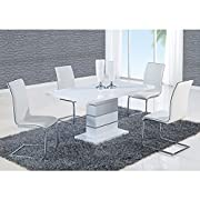Global Furniture Dining Table, White High Gloss