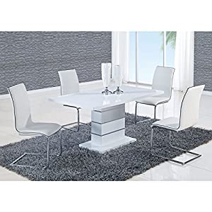 Amazoncom Global Furniture Dining Table White High Gloss Tables - White high gloss dining table