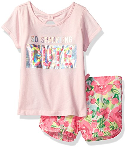 The Children's Place Baby Toddler Girls' Tee Shirt and Ruffle Hem Shorts Outfit Set
