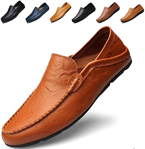 (Go Tour Men's Premium Genuine Leather Casual Slip On Loafers Breathable Driving Shoes Fashion Slipper Brown 49)