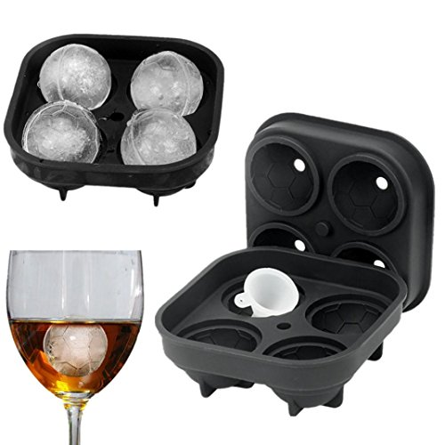 Highpot Ice Ball Maker Mold - Football Shape 3D Ice Cube Mold Silicone Ice Tray - Molds Round Ice Ball Spheres For Bar Party Cocktail Whiskey (Black)