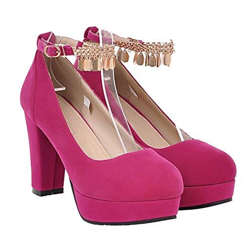 AIYOUMEI Damen Geschlossen Plateau Pumps mit Riemchen Blockabsatz High Heels Elegant Schuhe roserot