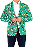 Festified Mens The Festive Elf Holiday Christmas Suit Coat and Tie