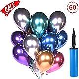 Xchingwan Globos de Fiesta 60 Piezas 12 Pulgadas Látex Globos metálicos Globos de cumpleaños Globos Brillantes de Helio…