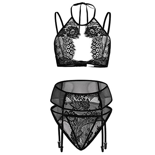 Adorelife Women Sexy Lingerie Set Lace Teddy Babydoll Bodysuit with Garter Belts (Teddy Lingerie Set)