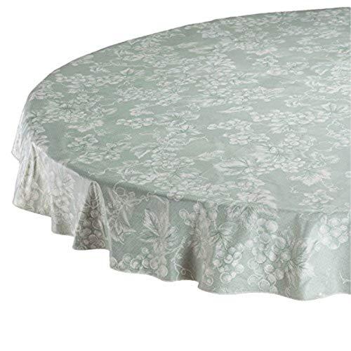 (OKSLO Sage green grapevine vinyl tilecloth (70 round))