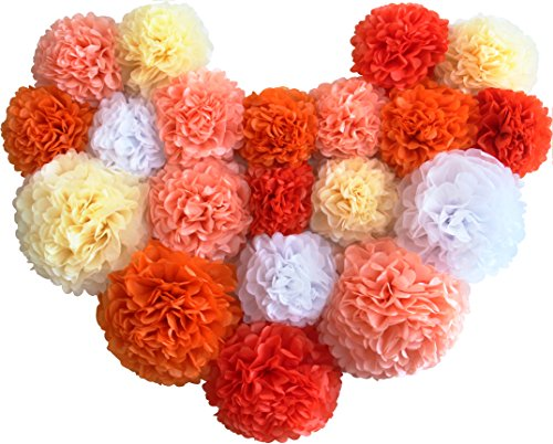 Voplop Paper Pom Poms - 20 pcs of 8, 10, 14 Inch - Paper Flowers - Perfect For Wedding Decor - Birthday Celebration - Table and Wall Decoration (Orange - Orange Color Mix