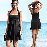 HuntGold Women Lady Sexy Push-up Wrapped Chest Swimming Dress Skirt Swimwear Swimsuit Black(Size: M)
