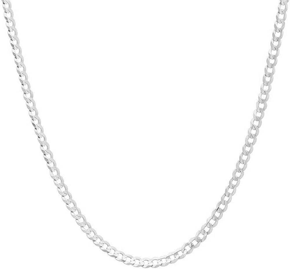 NYC Sterling Unisex 3mm Solid Sterling Silver .925 Curb Link Chain Necklace, Made in Italy