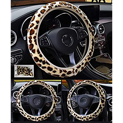 seemehappy Fluffy Leopard Print Elastic Car Steering Wheel Cover Anti-Slip Warm Steering Wheel Cover Fit for 14inch - 15inch (Leopard): Automotive