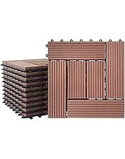 LZQ WPC terrastegels kliktegels houtlook 30x60cm filterbaar water kunststof tegels totaal 1m² antraciet voor tuin balkon terras