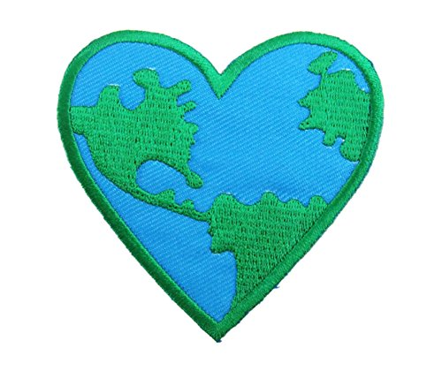 Love the Earth Heart Logo P331 Applique Embroidered Iron on - Love Logos