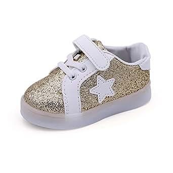 YanHoo Zapatos para niños Bebé Fashion Star Sneaker Zapatos Ligeros para niños niños y niñas Zapatos radiantes de Colores Flash LED Zapatos para niños Tabla de luz Zapatos Ligeros