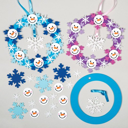 Snowman & Snowflake Foam Wreath Decoration Kits for