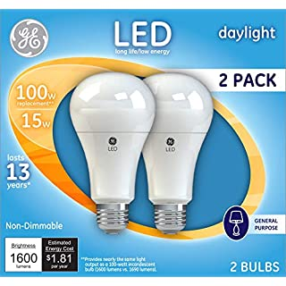 GE Lighting 21868 Light Bulb Daylight A21 LED 15-Watt (100-Watt Replacement), 1600-Lumen Medium Base, 2-Pack, 2 Count