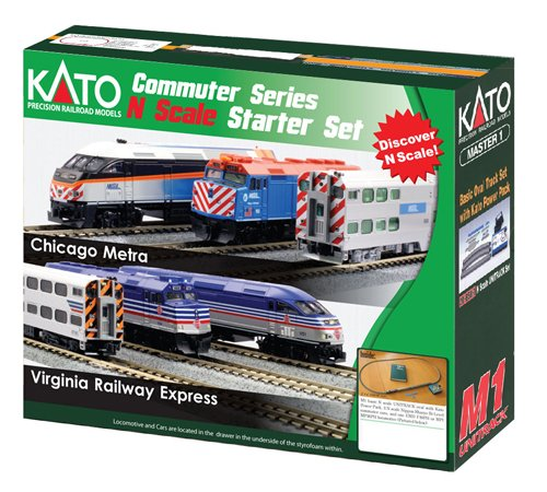 Kato USA Model Train Products N F40PH and Gallery Bi-Level Commuter Series Chicago Metra UNITRACK Starter Set Dcc Starter