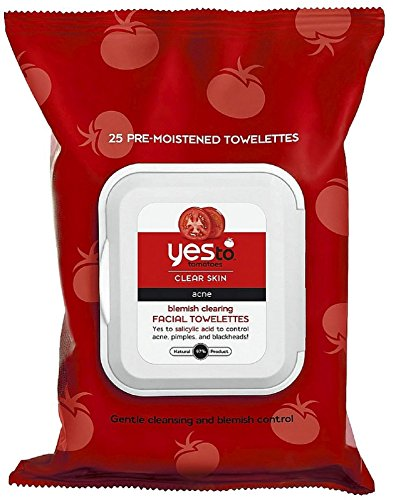 Price comparison product image Yes to Tomatoes Clear Skin, Acne, Blemish Clearing Facial Wipes, 25 Wipes, Pack of 2