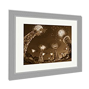Ashley Framed Prints Night View Of The Super Tree Grove At Gardens By The Bay In Singapore Spanning, Contemporary Decoration, Sepia, 26x30 (frame size), Silver Frame, AG6084886