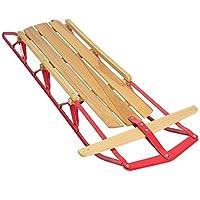 Best Choice Products 53in Kids Wooden Snow Sled Sleigh Toboggan w/ Metal Runners, Steering Bar