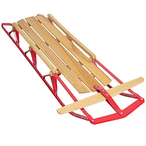 Best Choice Products 53in Kids Wooden Snow Sled Sleigh Toboggan w/ Metal Runners, Steering Bar (Metal Sled)