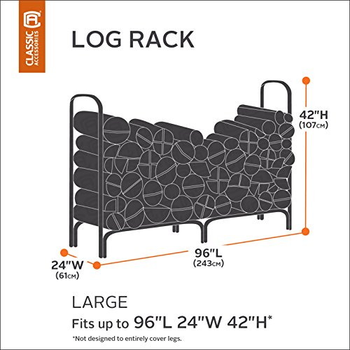 Classic Accessories 55-172-045101-EC Ravenna Log Rack Cover, 8-Feet, Taupe