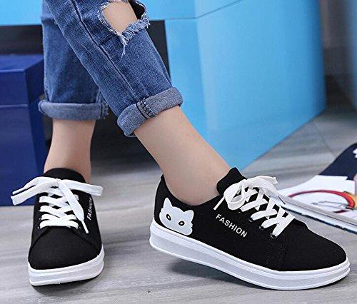 Idifu Vrouwen Casual Kat Print Veters Sneakers Flat Canvas Zwart Zwart