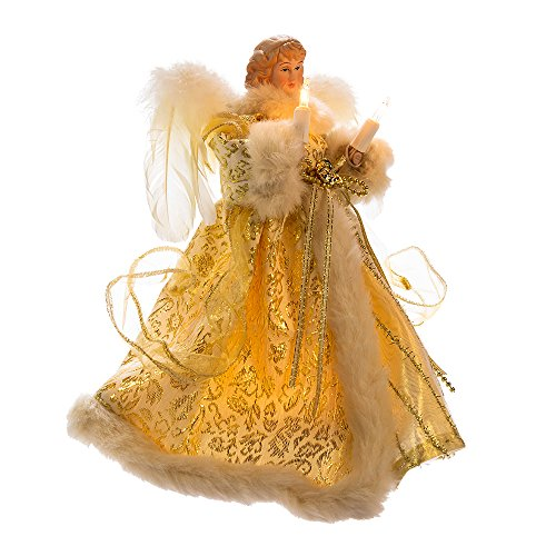 Kurt Adler UL 10-Light Angel Treetop Figurine, 10-Inch, Ivory and ()