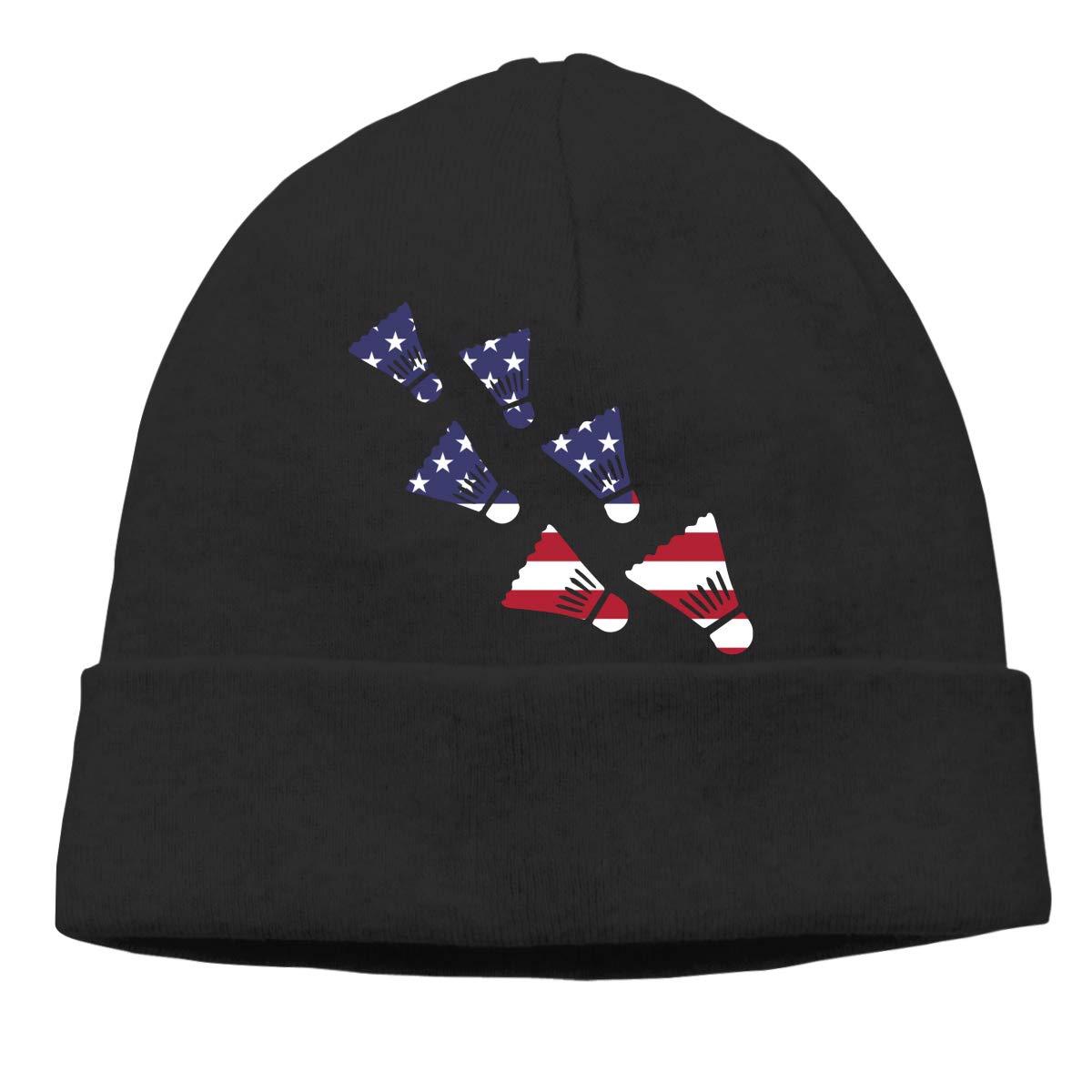 GDSG5/&4 Badminton American Flag Men and Women Baggy Winter Ski Beanie Skull Cap