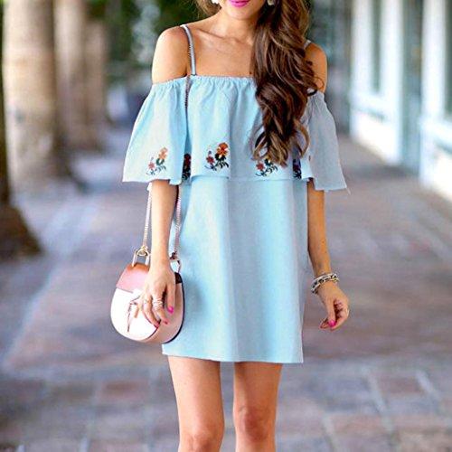Winwintom Moda Mujer Loose off - hombro casual blusa camisa tops Mini vestido de fiesta