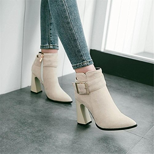 NVXIE Women's Short Boots Rough High Heel Pointed Toe Suede Belt Buckle Black Red Fall Winter Party Work BEIGE-EUR35UK3 MW32ttl8