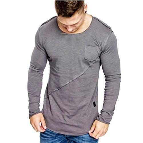 Men Tops Hot WEUIE Men Long-Sleeve Beefy Muscle Button Basic
